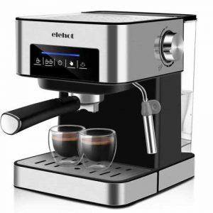 Machine à café espresso de 15 bars avec indicateur à DEL Touches tactiles Mousse de lait manuelle à double tasse