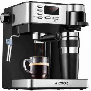 Machine à café Aicook, machine à café 3 en 1 (machine à café américaine machine à expresso de 15 bars machine professionnelle avec mousseur à lait),