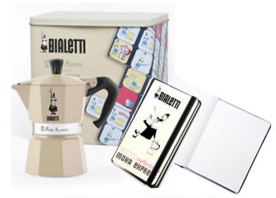 "Cafetière Bialetti 3 tz ""Moka Express Carosello"" + cahier, édition limitée, crème"