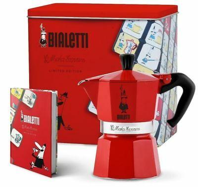 "Cafetière Bialetti 3 tz ""Moka Express Carosello"" + cahier, édition limitée, rouge"