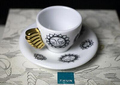 Tasse à café à la volée au soleil, noir et blanc, poignée en or pur