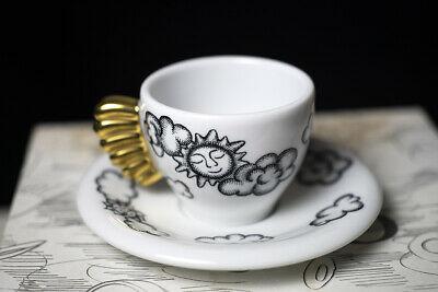 Tasse à café Thun à la volée, soleil et nuages, noir et blanc, poignée en or pur