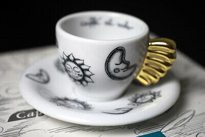 Tasse à café à la volée avec soleil et lune, noir et blanc, poignée en or pur