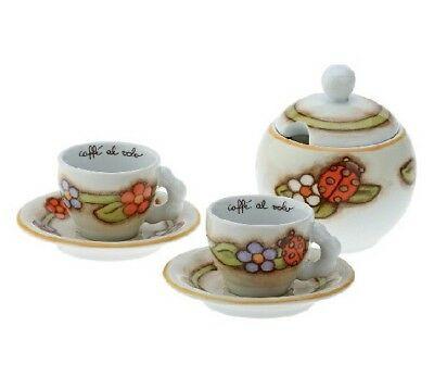 THUN Service 2 Tasses à Café + Sucrier en Porcelaine Mod.Country. NOUVEAU