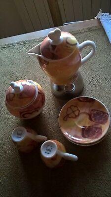 THUN Service 2 tasses à café + un sucrier en porcelaine avec une nouvelle cafetière