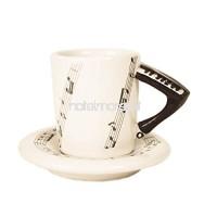 Tasse à café en céramique faite à la main, faite à la main, pour piano, 2 oz (5 9 cl) Couleur Noir (8cm x 5cm) B01IG029RC