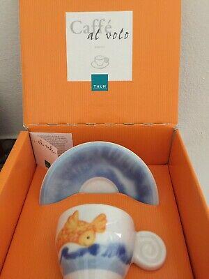 Tasse à café à la volée avec soucoupe et boîte en céramique décorée originale