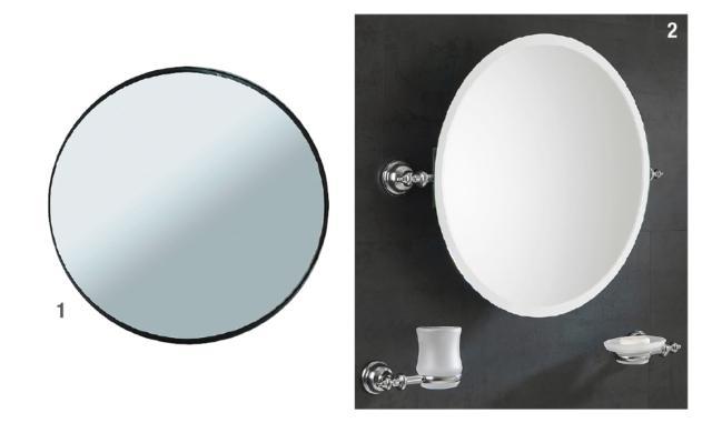 1. Le miroir rond en verre dépoli Mood de Leroy Merlin a des dimensions extérieures L 40 x P 3 x H 40 cm et coûte 19,99 € 2. Le miroir Stilhaus Elite EL01 est ovale et équipé d'un système de basculement avec structure en laiton. Il en coûte 295 euros.