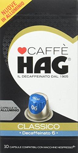 Hag - Capsules de café décaféiné à l'espresso classique - Compatible avec les machines Nespresso - 100 Capsules en aluminium - Intensité 12