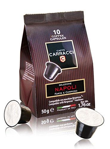 Caffè Carracci, Capsules compatibles Nespresso, Naples - 10 boîtes de 10 capsules (total 100 capsules)
