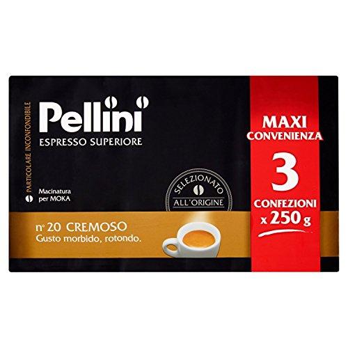 Pellini Caffe for Moka - Goût crémeux - Paquet de 3x250 gr (750gr)