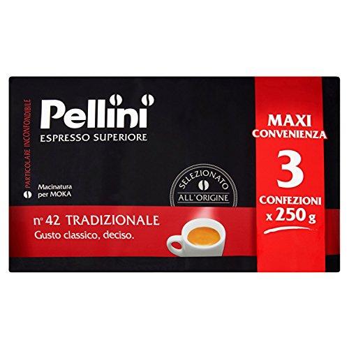 Café Pellini pour Moka - Goût Traditionnel - Paquet de 3x250 gr (750gr)
