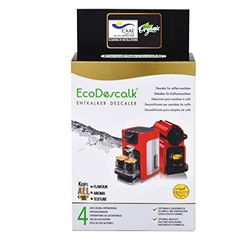 EcoDescalk Bio en Poudre, 4 Sachets. Détartrant 100% naturel. Détergent pour cafetière. Toutes les marques: Bosch, Nespresso, DeLonghi, Tassimo. 9 Détartrage. Produit CE.
