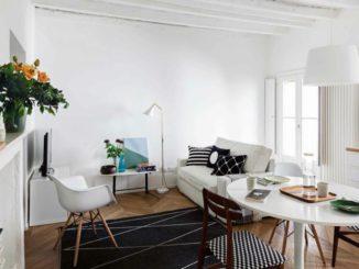 Mini appartement de deux pièces de 45 mètres carrés avec poutres apparentes en blanc