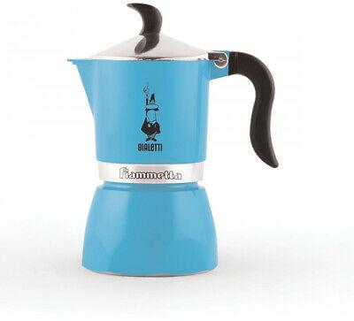 Bialetti 0004631 Moka Fiammetta, Cafetière à espresso, Aluminium, Azurro Fluo,