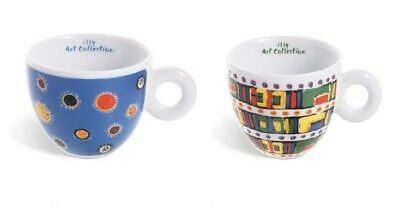 Illy Art Collection GILLO DORFLES 2 Tasses à Café + Soucoupes Espresso Signé IPA