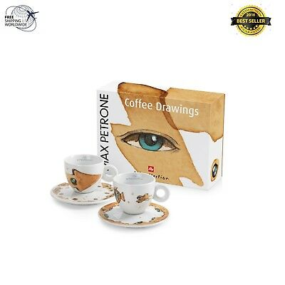 Illy Art Collection 2018 Max Petrone 2 Cuppucinno Set De Tasses À Café Signé -177 ml
