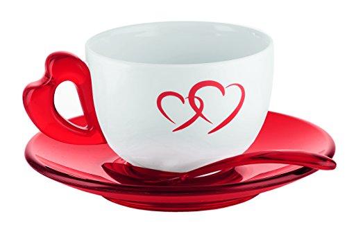 Guzzini Love Set 2 Tasses à Cappuccino avec Soucoupes et Cuillères à Thé, Porcelaine, Rouge Transparent, 21x37x13 cm, 2 unités