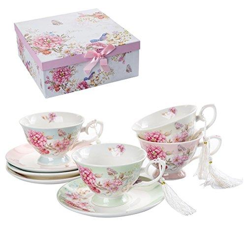Ensemble de 4 tasses à thé avec soucoupe, style shabby chic, vintage, porcelaine, avec motif d'oiseau, papillons et fleurs, avec boîte-cadeau, Céramique, 1 lot de 4, 11x8cm