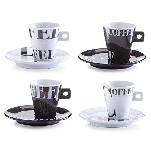 Zeller 26540 Set Tasses à Café Style Café, Porcelaine, Multicolore, 0.1x6x6.3 cm, 8 unités