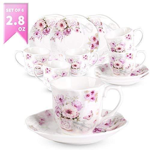 Ensemble de 6 tasses à café expresso - 80 ml Café service avec des soucoupes spéciales 12 unités