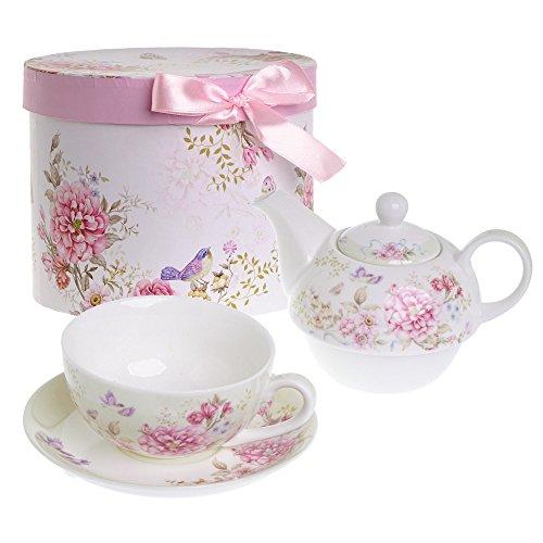 Service à thé pour une personne, avec théière / tasse / soucoupe, décoration élégante avec fleurs / papillons / oiseaux, en porcelaine, dans un coffret cadeau, Céramique, Beige / Crème, 15x15cm