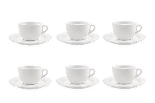 Galileo Casa Bianco Set 6 Tasses à Thé avec Soucoupes, Porcelaine