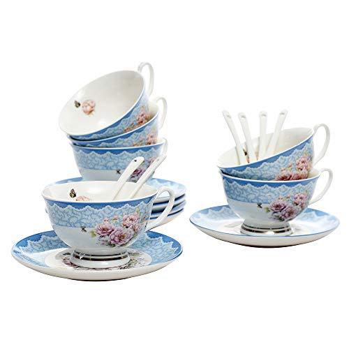 ufengke 7 oz Flora Coffee Cup, Tasses à Cappuccino en Porcelaine avec Soucoupes et Cuillère, Ensemble de 6 Tasses et Soucoupes en Céramique, Bleu