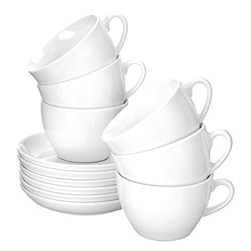 Esmeyer Bistro - Ensemble de 6 tasses à cappuccino 0,30 l, avec soucoupes Forma Bistro - Manche blanc, forme ronde, hauteur 7,2 cm, diamètre 15,7 cm