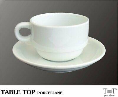 Coupe Cappuccino 22 CL. Porcelaine empilable avec soucoupe de table