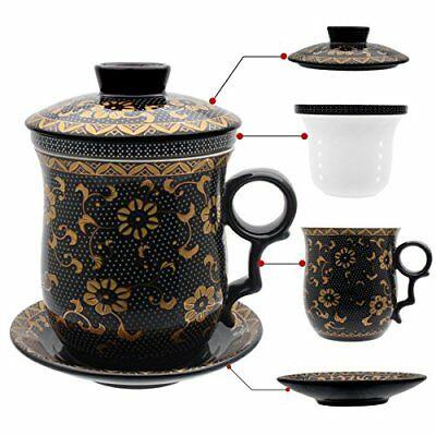Tasse à thé Hollihi en porcelaine avec couvercle et infuseur à soucoupe (N2i)