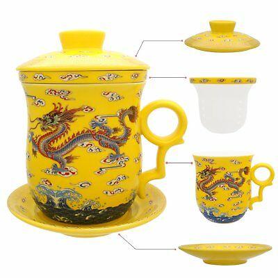 Tasse à thé Hollihi en porcelaine avec couvercle et infuseur à soucoupe (Y2a)