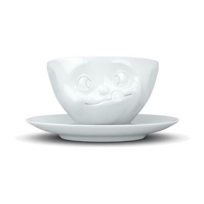Cinquante-huit émissions télévisées, savoureux, tasse à café, soucoupe, porcelaine, blanc, 200 ml