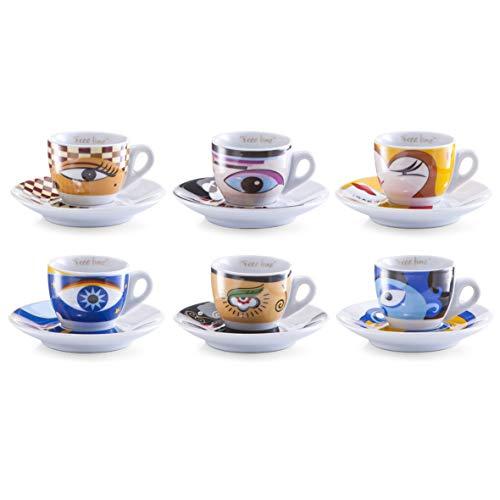 Zeller 26510 Set tasses à café Magic Eyes, Porcelaine, Multicolore, 0,1x6x4,7 cm, 12 unités