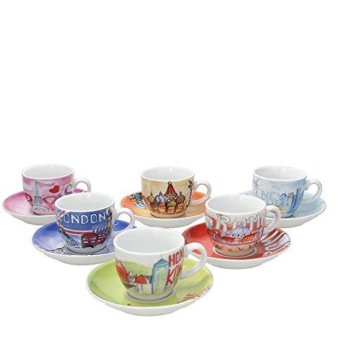 Tognana IR085343381 Set Tasses À Café Iris City, Porcelaine, Multicolore, 6 unités