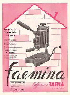Publicité 1954 Machine à café expresso Faemina Casa Bar Officina Faema