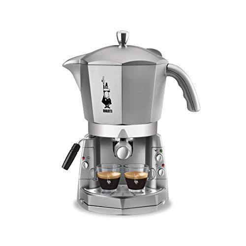 Bialetti Mokona Silver, Machine à expresso, Système ouvert (pour café moulu, capsules et gousses Bialetti)