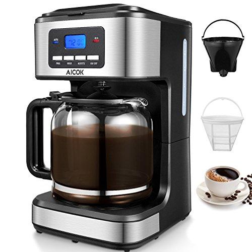 Machine à café américaine Aicok, cafetière électrique 12 tasses Filter Filtre à café américain, Cafetière américaine programmable, Cafetière en verre avec minuterie, Noir