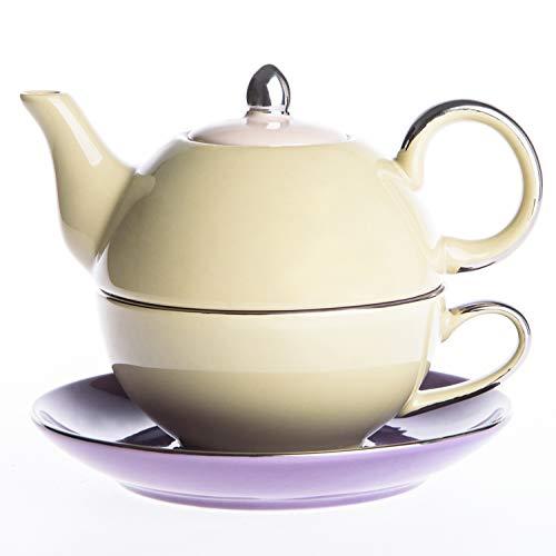 Artvigor, thé pour une théière et une tasse Service à thé en porcelaine Ensemble de théière avec tasse et sous-tasse Théières Pots à café en céramique 3 pièces pour 1 personne beige et violet