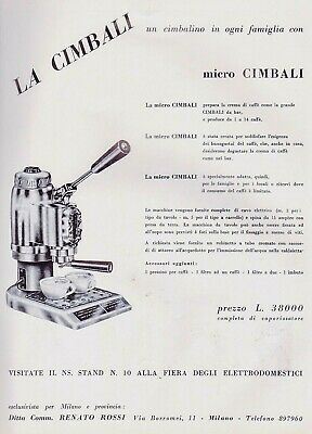 Pubbl.1954 Espresso Machine Micro Cimbali Caractéristiques techniques Bar