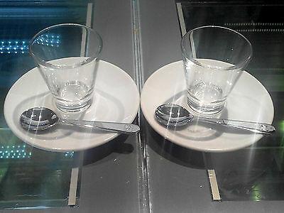 2 tasses de verre minimum collection d'art illy Caffé + 2 assiettes à soucoupes + 2