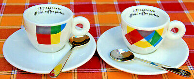 2 tasses Tasses illy Coffee Art Collection Coffee + 2 soucoupes + 2 cuillères à café