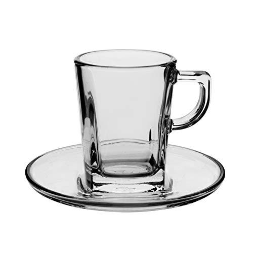 Pasabahce Carre Set 6 tasses à café avec assiette Carré Préparation du petit-déjeuner Vaisselle, 7,2 cl