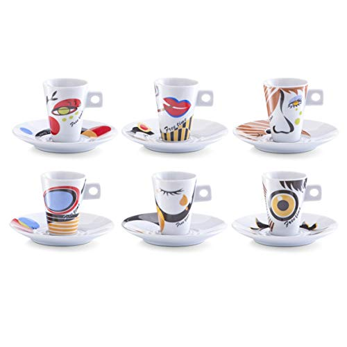 Zeller 26505 Set de tasses à café Faces, en porcelaine, multicolore, 0,1 x 5 x 6,7 cm, 12 unités
