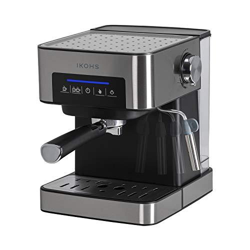 TAZZIA - Cafetière expresso pour expresso et cappuccino, 20 bar, 850 W, cuve de 1,5 litre, vaporisateur réglable, numérique, à double sortie, manodétendeur, coloris noir