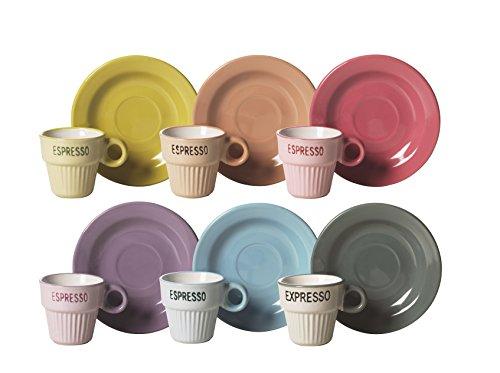 Excelsa Vintage Service 6 Tasses à café avec soucoupe, Céramique, Multicolore
