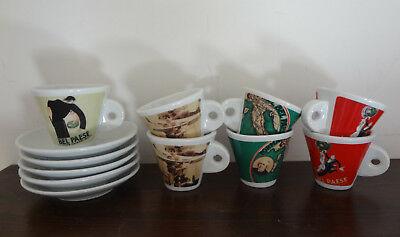 Sept petites tasses cinq soucoupes à café beau pays Galbani Ed. Ceramica Limitée