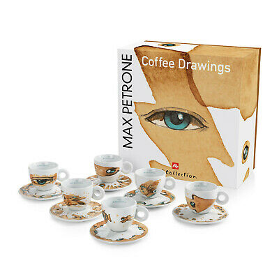 Nouveau ILLY Art Collection MAX PETRONE 6 Tasses Tasses Tasses à Cappuccino