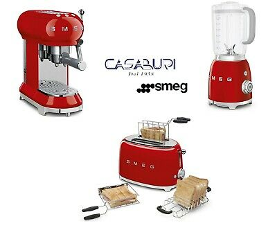 Smeg Red Set Machine à café espresso 3 pièces + grille-pain + mélangeur à immersion