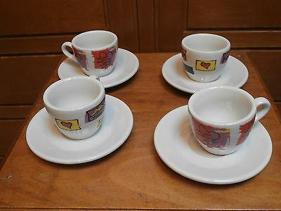** Service Espresso Collection 4 tasses à café + soucoupe en céramique Saturnia **